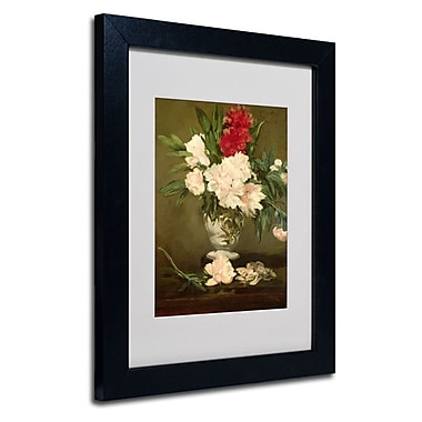 Trademark Fine Art Edouard Manet 'Vase of Peonies 1864' Matted Framed Art