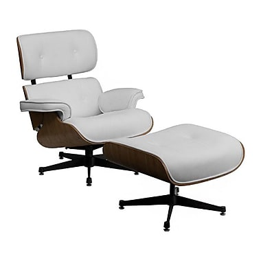 Flash Furniture HERCULES Presideo Top Grain Italian Leather Lounge Chair and Ottoman Set, White