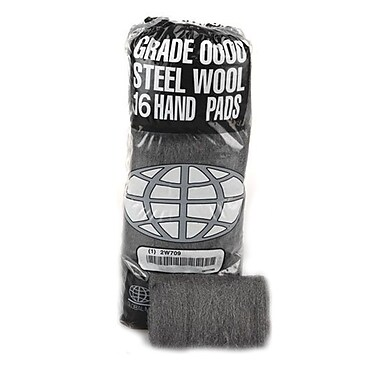Global Material Medium Coarse #2 Steel Wool Hand Pad, Gray