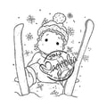 Magnolia A Christmas Story 2 1/2in. x 2 3/4in. Cling Stamp, Ski Edwin With Snowflakes