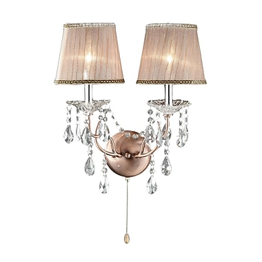 Ore International® Rosie Crystal Wall Scones, Copper Finish
