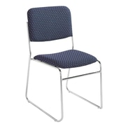 NPS® Pattern Fabric Signature Stack Chair, Diamond Navy/Chrome, 4/Pack
