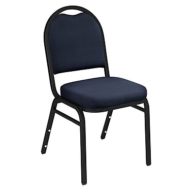 NPS® Solid Fabric Padded Dome Stack Chair, Midnight Blue/Black Santex, 4/Pack