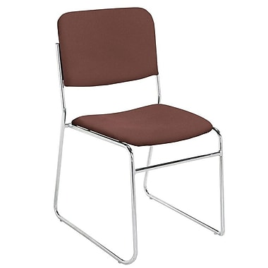 NPS® Pattern Fabric Signature Stack Chair, Diamond Burgundy/Chrome
