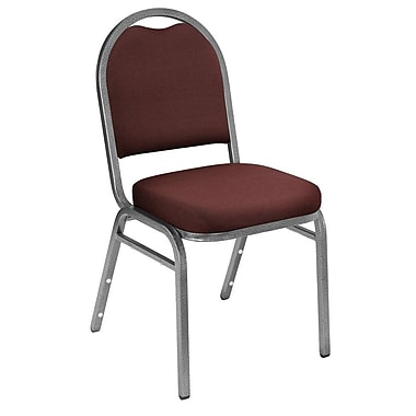 NPS® Solid Fabric Padded Dome Stack Chair, Rich Maroon/Silvervein
