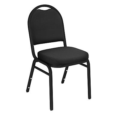 NPS® Solid Fabric Padded Dome Stack Chair, Ebony Black/Silvervein