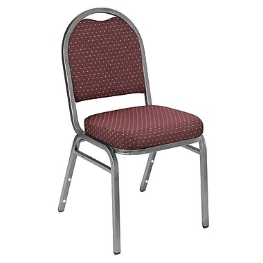 NPS® Pattern Fabric Padded Dome Stack Chair, Diamond Burgundy/Silvervein