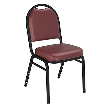 NPS® Vinyl Padded Dome Stack Chair, Pleasant Burgundy/Black Santex