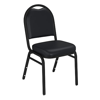 NPS® Vinyl Padded Dome Stack Chair, Panther Black/Black Santex