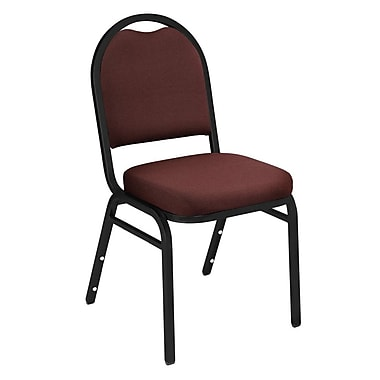 NPS® Solid Fabric Padded Dome Stack Chair, Rich Maroon/Black Santex