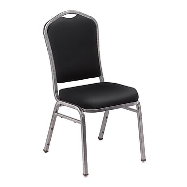 NPS® Silhouette Vinyl Padded Stack Chair, Panther Black/Silvervein