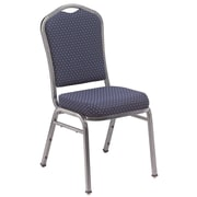 NPS® Silhouette Pattern Fabric Stack Chair, Diamond Navy/Silvervein