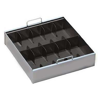 MMF Industries™ STEELMASTER® Ten-Compartment Currency Tray with Locking Cover, Gray, 3 1/2