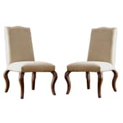 HomeBelle Microfiber Nailhead Upholstered Traditional Dining Chair, Peat