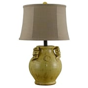 AHS Lighting Gruyere Ceramic Urn Table Lamp With Taupe Slub Linen Shade, Yellow