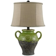 AHS Lighting Lyon Ceramic Table Lamp With Taupe Slub Linen Shade, Green
