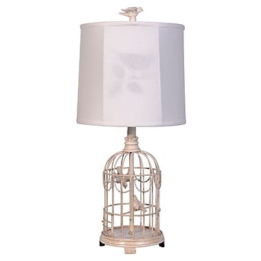 AHS Lighting Bird Cage Table Lamp With Silhouette Shade, Antique White