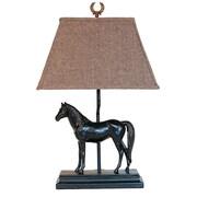 AHS Lighting Run For The Roses Table Lamp With Herringbone Shade, Dark Bronze