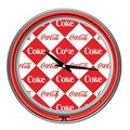 Trademark Global® Chrome Double Ring Analog Neon Wall Clock, Checker Coca-Cola®