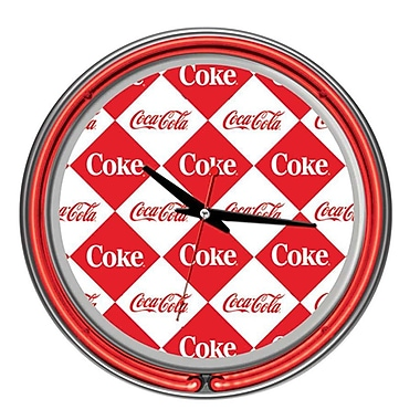Trademark Global® Chrome Double Ring Analog Neon Wall Clock, Checker Coca-Cola®