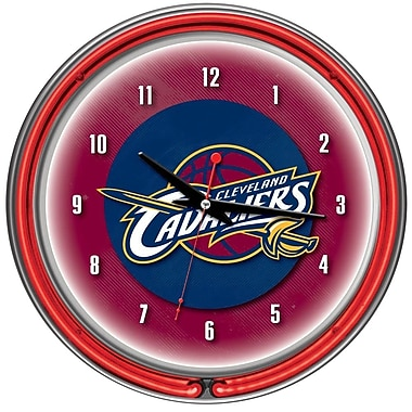 Trademark Global® Chrome Double Ring Analog Neon Wall Clock, Cleveland Cavaliers NBA