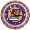 Trademark Global® Chrome Double Ring Analog Neon Wall Clock, Phoenix Suns NBA