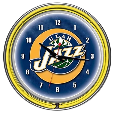 Trademark Global® Chrome Double Ring Analog Neon Wall Clock, Utah Jazz NBA