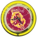 Trademark Global® Chrome Double Ring Analog Neon Wall Clock, NCAA Arizona State® University