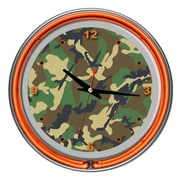 Trademark Global® Chrome Double Ring Analog Neon Wall Clock, Hunt Camo