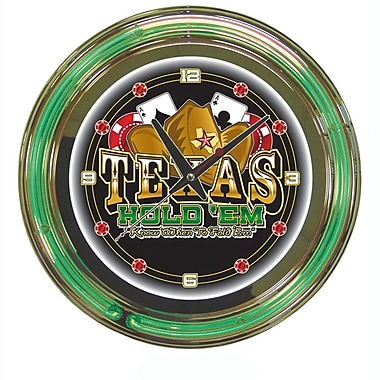 Trademark Global® Chrome Double Ring Analog Neon Wall Clock, Texas Hold 'em