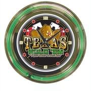 Trademark Global® Chrome Double Ring Analog Neon Wall Clock, Texas Hold 'em