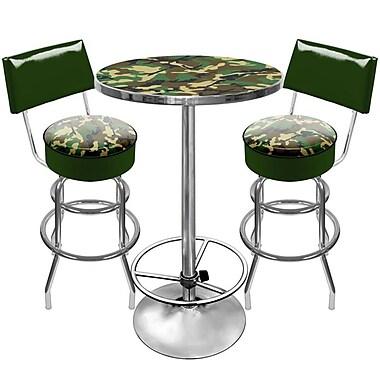 Trademark Global® 2 Bar Stools With Back and Table Gameroom Combo, Hunt Camo