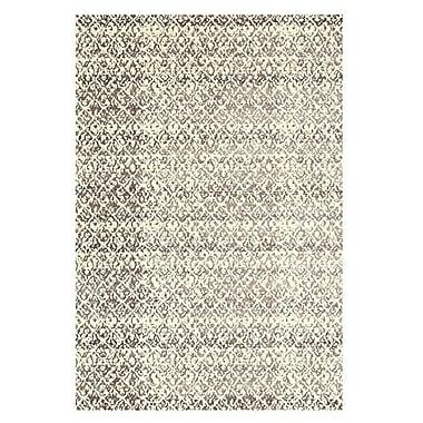 Feizy® Settat III Wool and Art Silk Pile Transitional Rug, 5' x 8', Cream/Gray