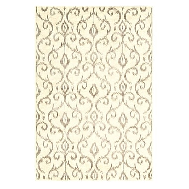 Feizy® Settat III Wool and Art Silk Pile Contemporary Rug, 5' x 8', Cream/Gray