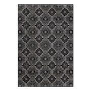 "Feizy® Settat Wool and Art Silk Pile Traditional Rug, 2'10"" x 7'10"", Black/Ecru"