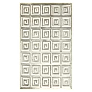 Feizy® Settat III Wool and Art Silk Pile Geometric Rug, 5' x 8', Cream/Gray