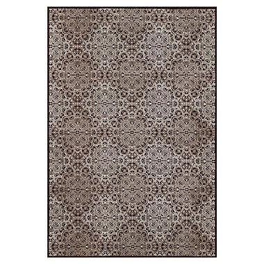 Feizy® Settat II Wool and Art Silk Pile Contemporary Rug, 5' x 8', Dark Chocolate/Gray