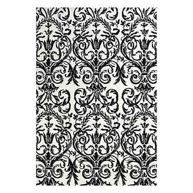 Feizy® Pia Polyester Pile Contemporary Rug, 5' x 8', Ebony/White