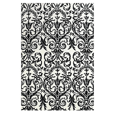 Feizy® Pia Polyester Pile Contemporary Rug, 8' x 11', Ebony/White