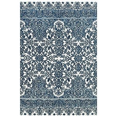Feizy® Pia Polyester Pile Contemporary Rug, 5' x 8', Indigo/White