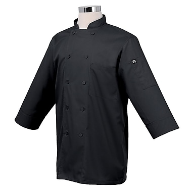 Chef Works® Basic 3/4 Sleeve Chef Coat, Black, XS