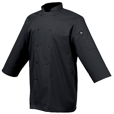 Chef Works® Basic 3/4 Sleeve Chef Coat, Black, 3XL