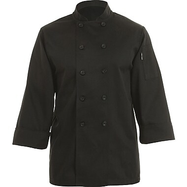 Chef Works® Bastille Long Sleeve Basic Chef Coat, Black, 4XL