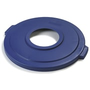 "Carlisle Bronco Polyethylene Lid with 8"" Hole, Blue"