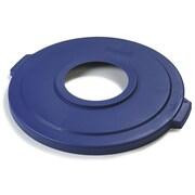 """Carlisle Bronco Polyethylene Lid with 8"""" Hole, Blue"""
