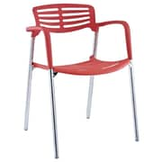 Modway Fleet Hard Plastic Stacking Chair, Red