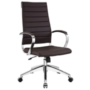 Modway Jive Ribbed Vinyl High Back Executive Office Chair, Brown