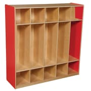 "Wood Designs™ 48""W Five Section Locker, Strawberry Red"