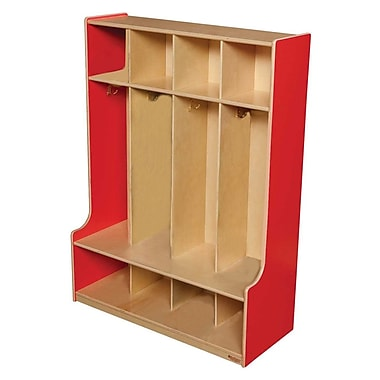 Wood Designs™ Four-Section Seat Locker, Strawberry Red