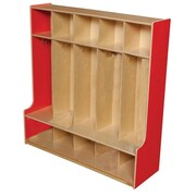 "Wood Designs™ 48""W Five Section Seat Locker, Strawberry Red"